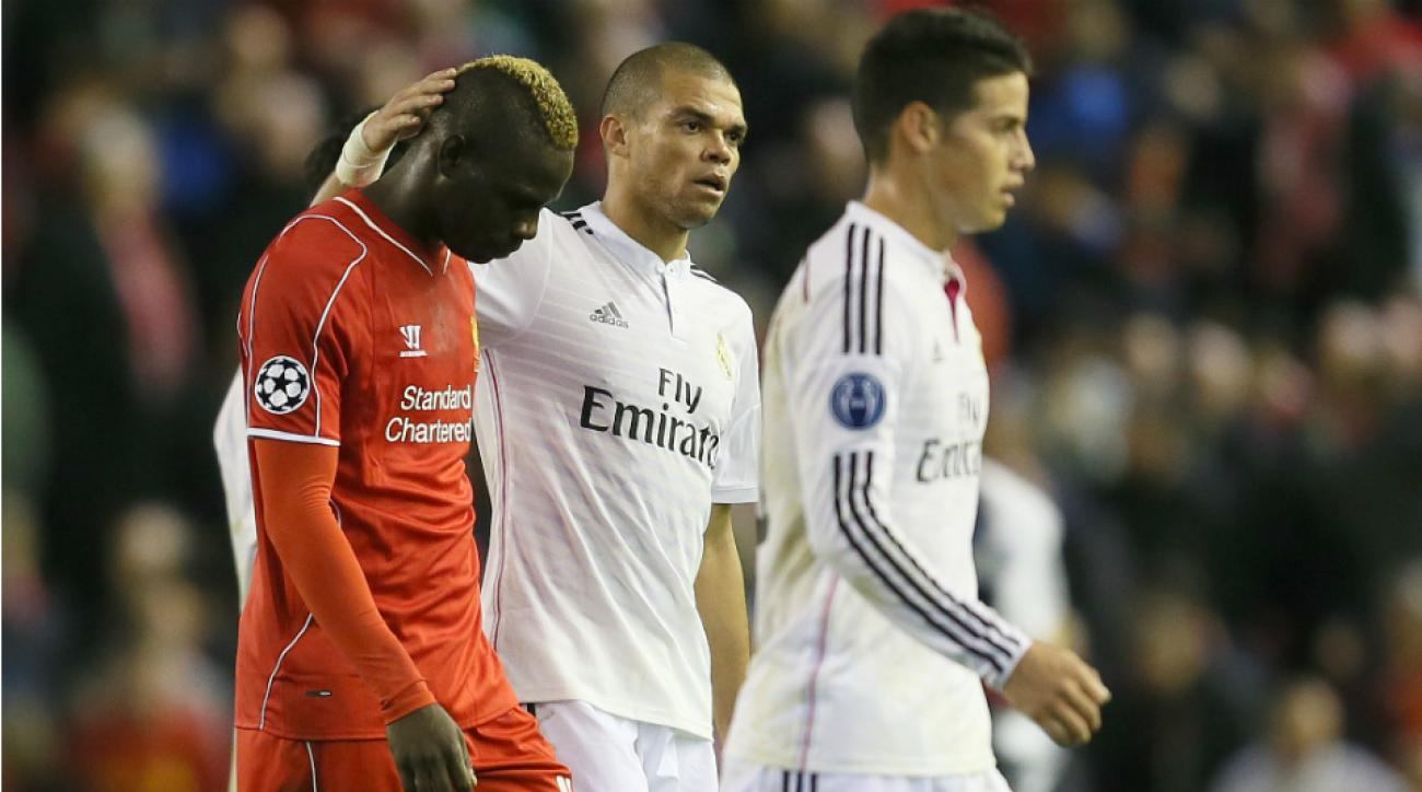 Mario Balotelli, left, was at the center of hysteria after trading jerseys with Pepe, center, at halftime of Real Madrid's rout of Liverpool the last time they met in the Champions League.