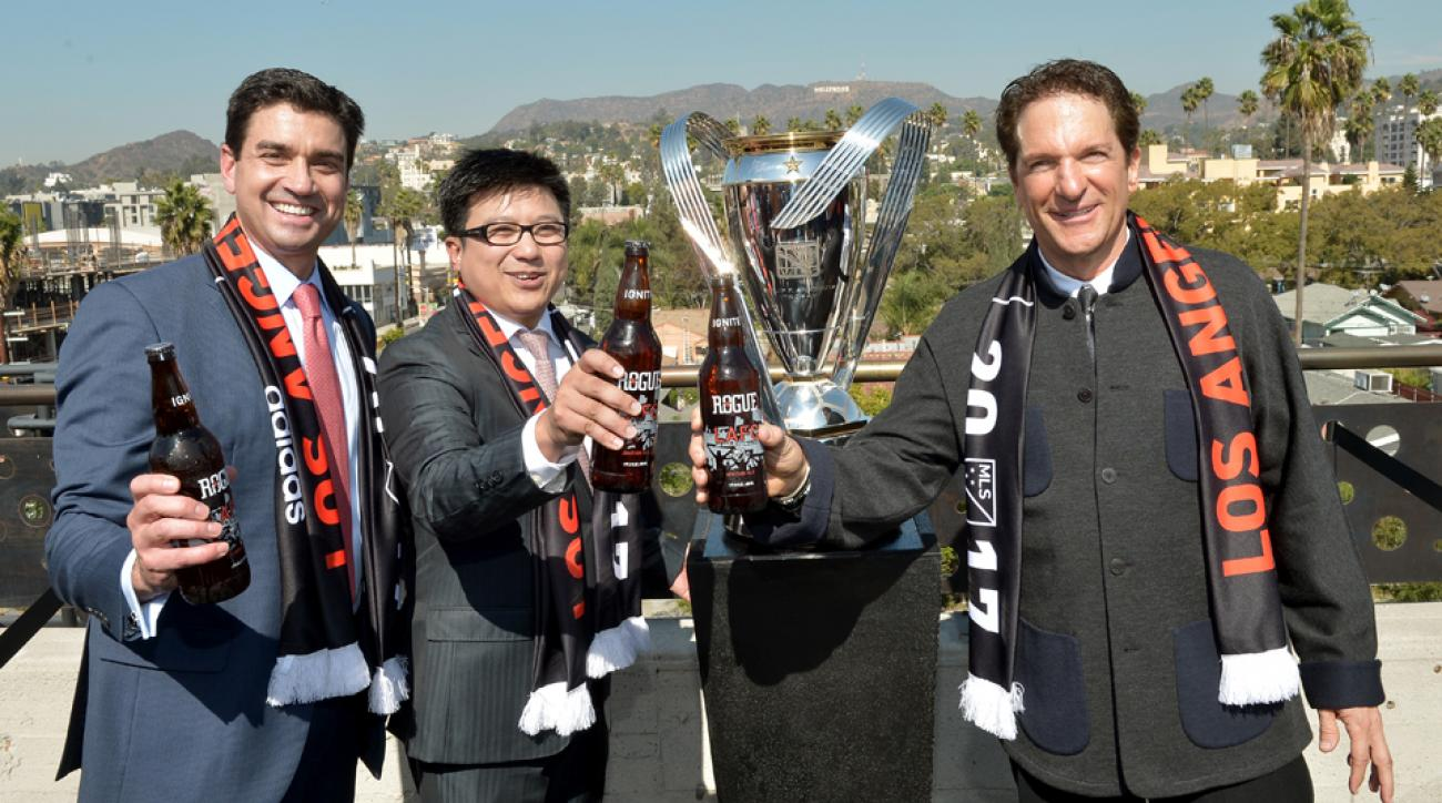 From left, LAFC majority owners Tom Penn, Henry Nguyen and Peter Guber, hope for big things when the club launches in MLS in 2017.
