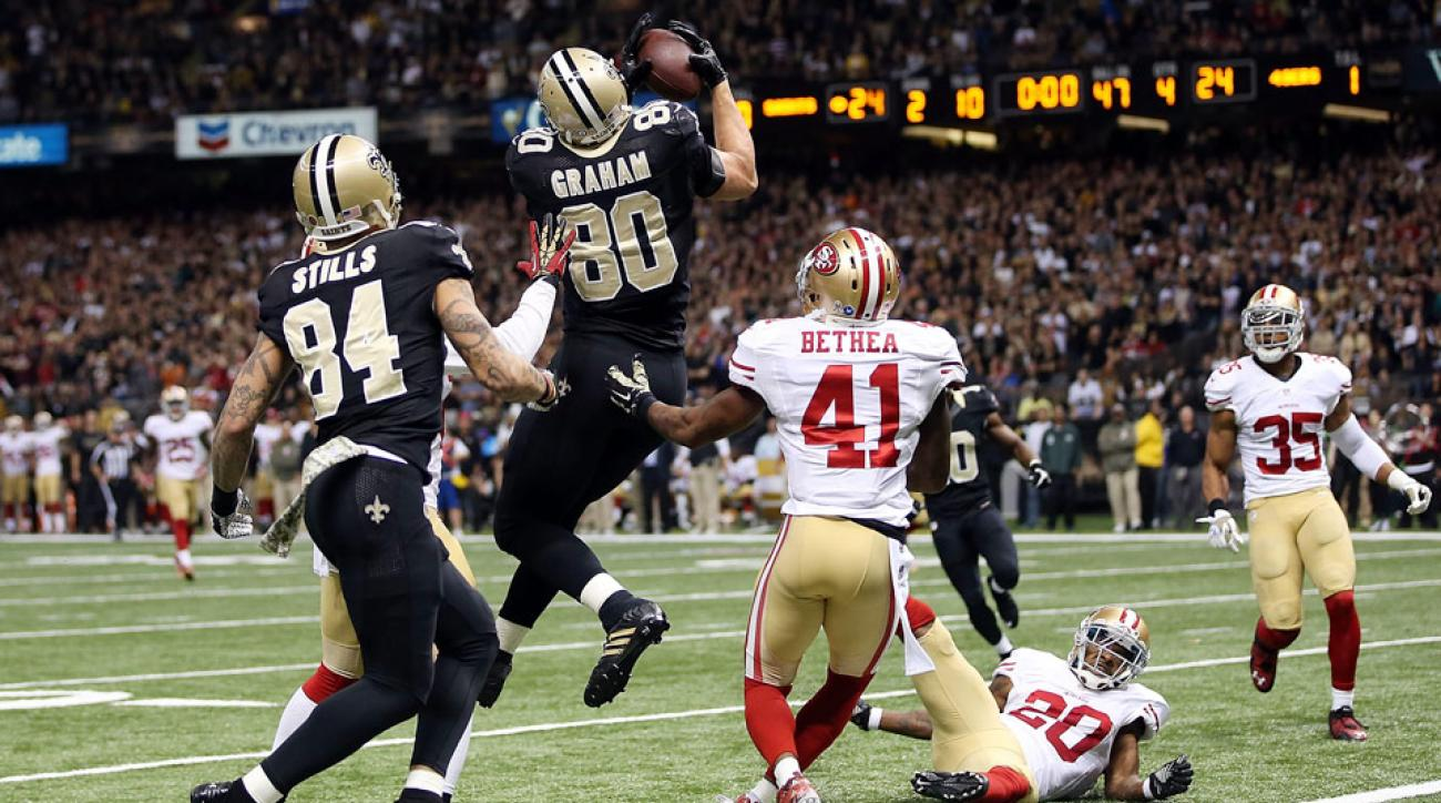 Jimmy Graham Hail Mary: New Orleans Saints TE called for penalty vs. San Francisco 49ers