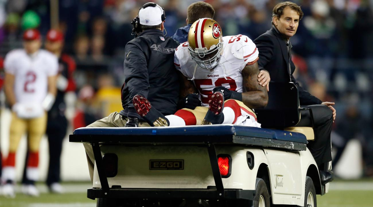 San Francisco 49ers linebacker NaVorro Bowman is still experiencing pain in his knee.