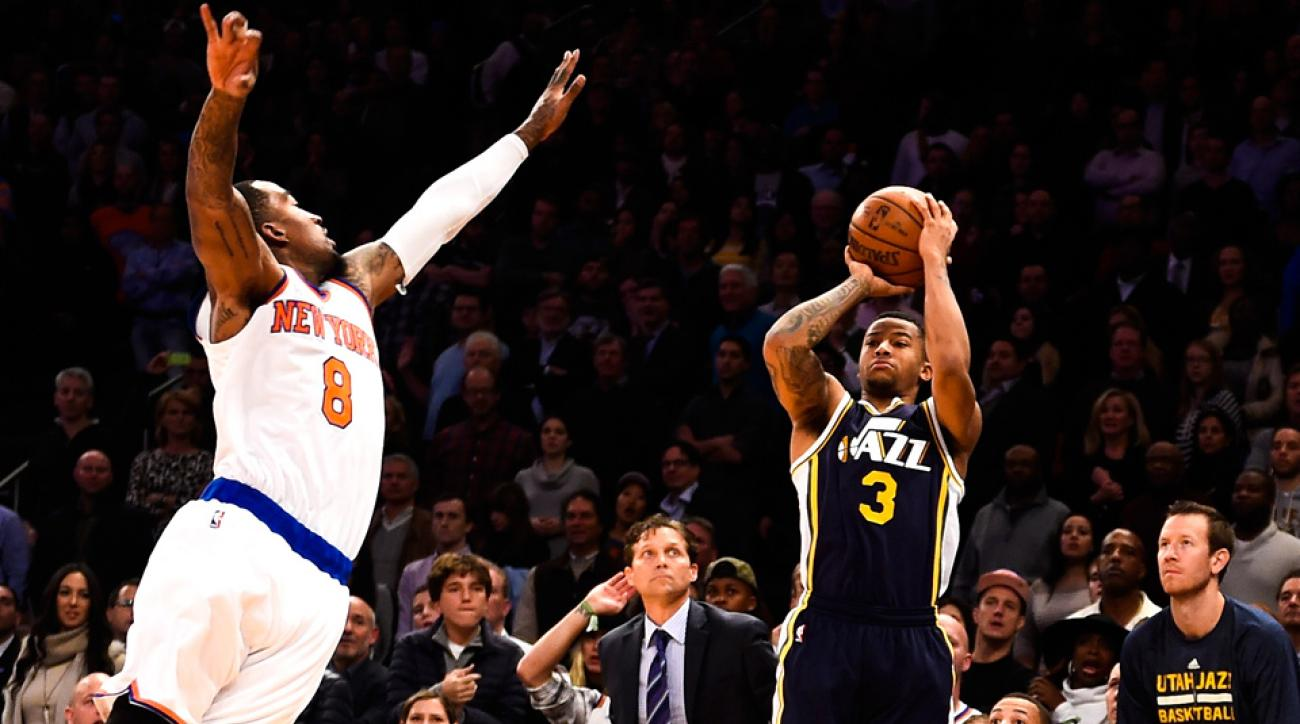 Jazz point guard Trey Burke hit a fadeaway buzzer-beating jumper to beat the Knicks at Madison Square Garden on Friday night.