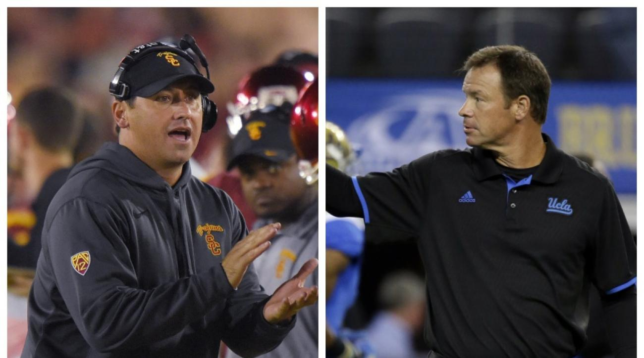 USC's Steve Sarkisian will lead his Trojans into Pasadena Saturday to face Jim Mora and the UCLA Bruins