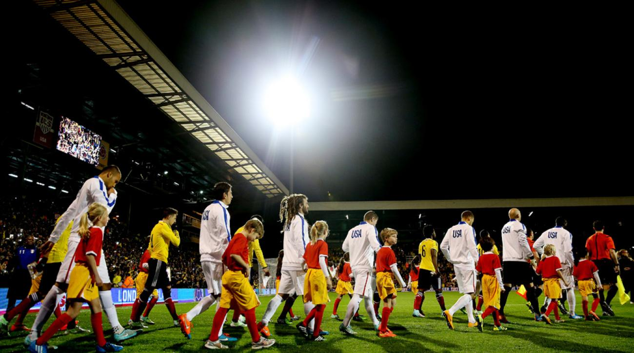 USA players take to the field at Craven Cottage in London ahead of their friendly against Colombia.