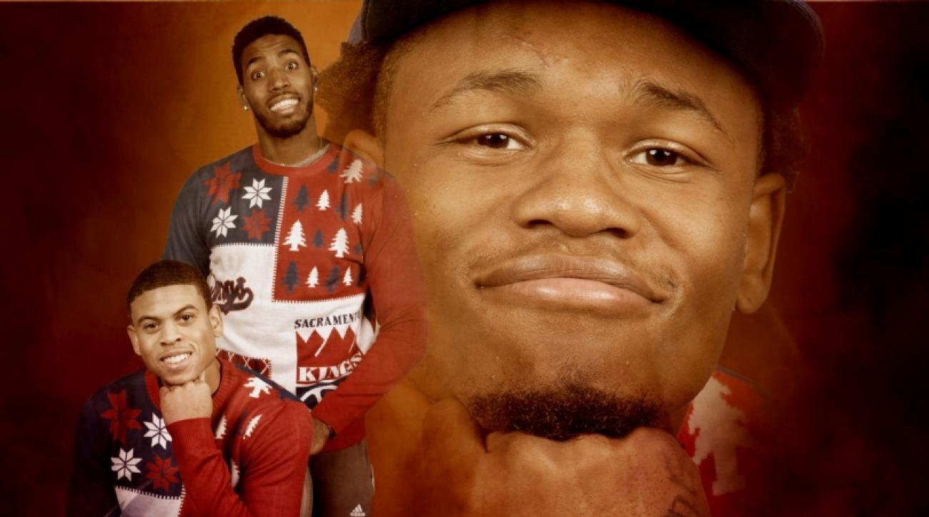 Sacramento Kings ugly Christmas sweaters photoshoot