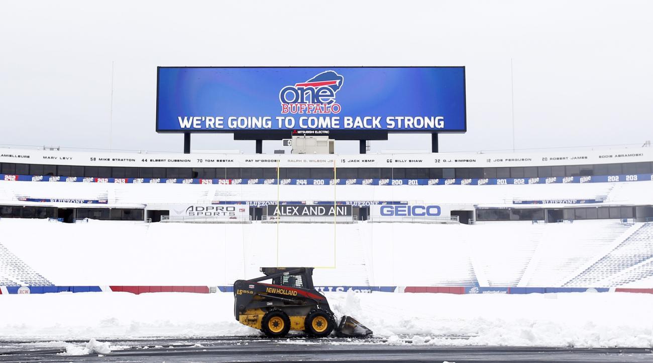 buffalo bills finish shoveling snow stadium