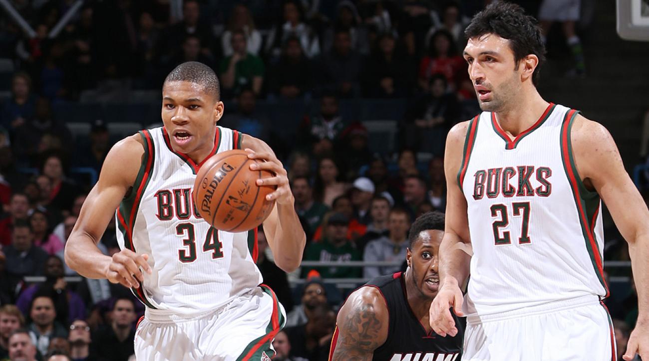 Bucks forward Giannis Antetokounmpo threw down a vicious dunk over Heat center Chris Bosh.