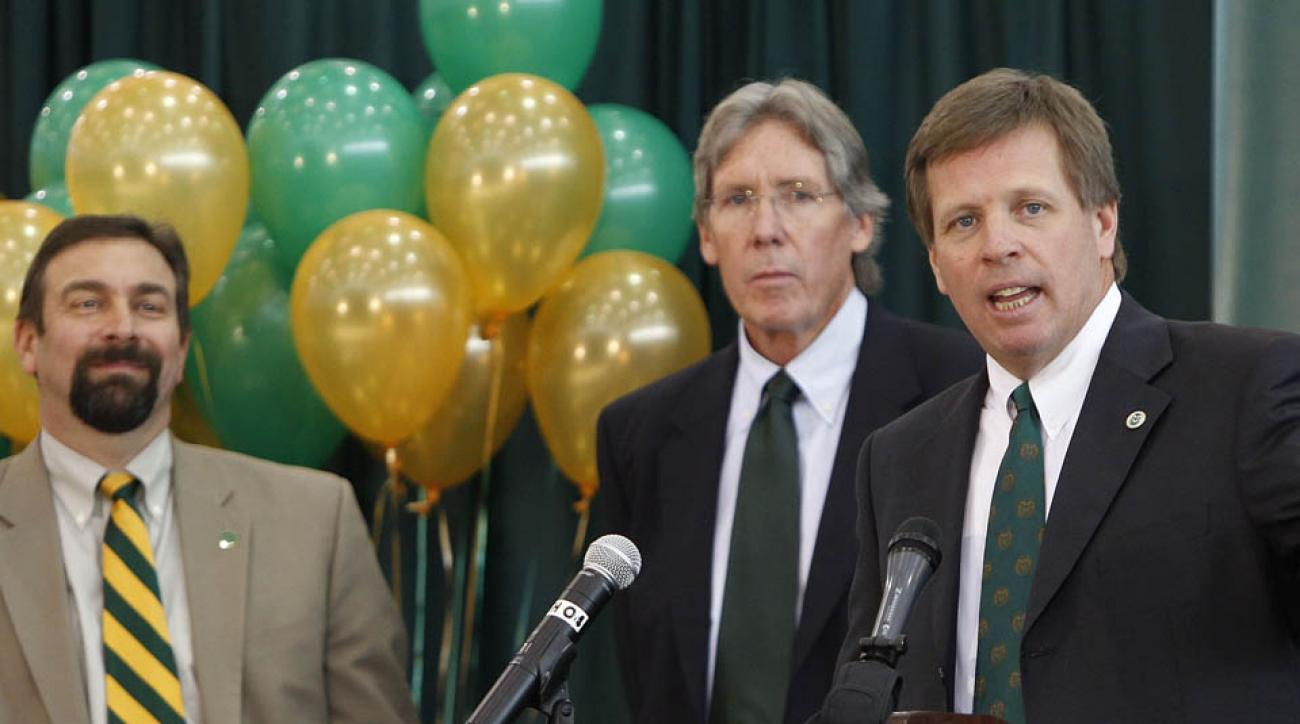 Former CSU athletic director Jack Graham (center) was fired in August after a rift with the school's president