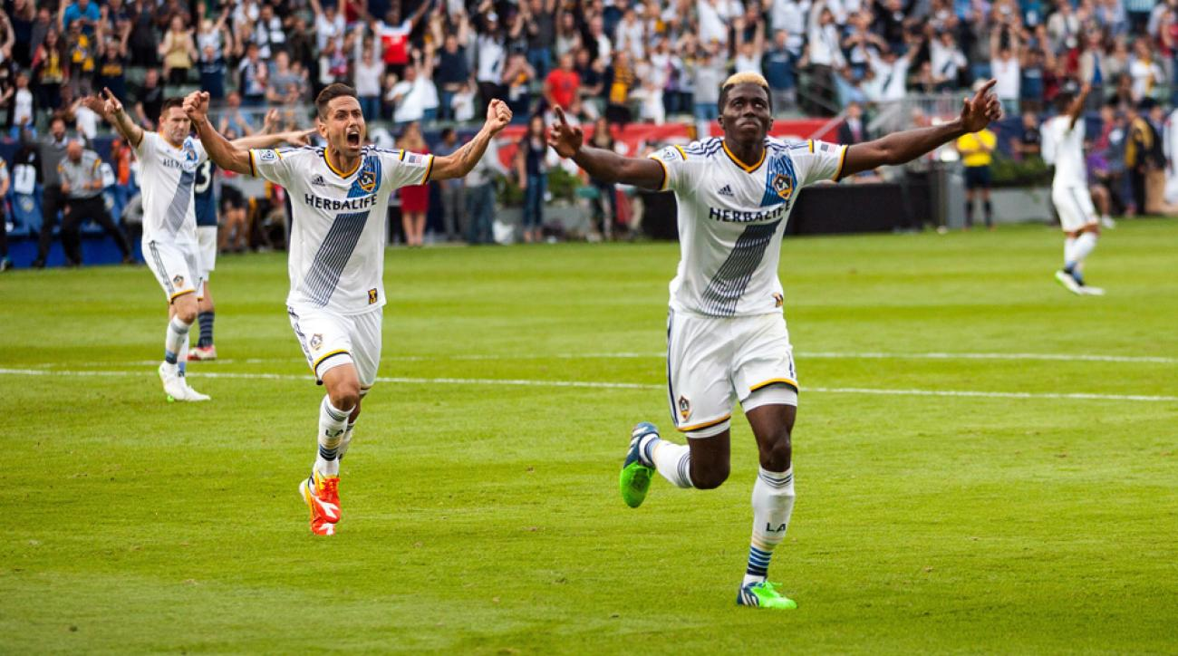 Gyasi Zardes, right, celebrates his goal that opened the scoring in MLS Cup 2014.