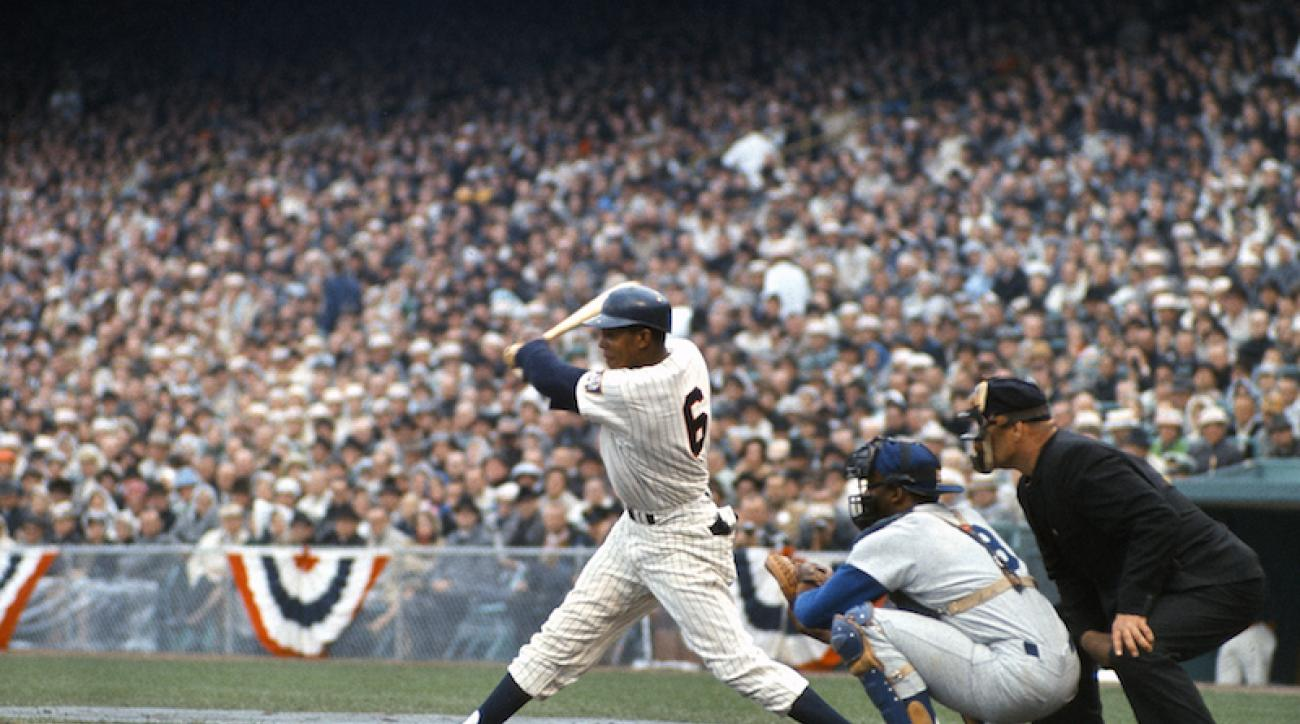 FILE: Tony Oliva #6 of the Minnesota Twins bats against the Los Angeles Dodgers during the 1965 World Series at Metropolitan Stadium in Minneapolis, Minnesota. The Twins won the game 5-1.