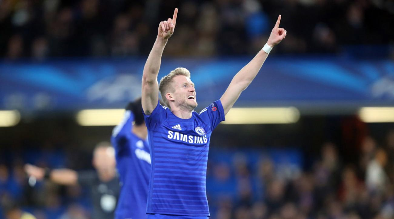 Chelsea's Andre Schurrle celebrates his Champions League goal against Sporting Lisbon.