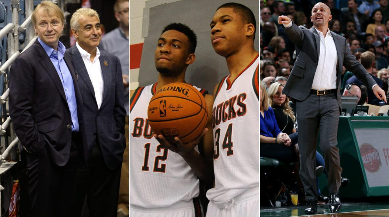 (From left) Bucks owners Wes Eden, Marc Lasry; Jabari Parker, Giannis Antetokounmpo; Jason Kidd