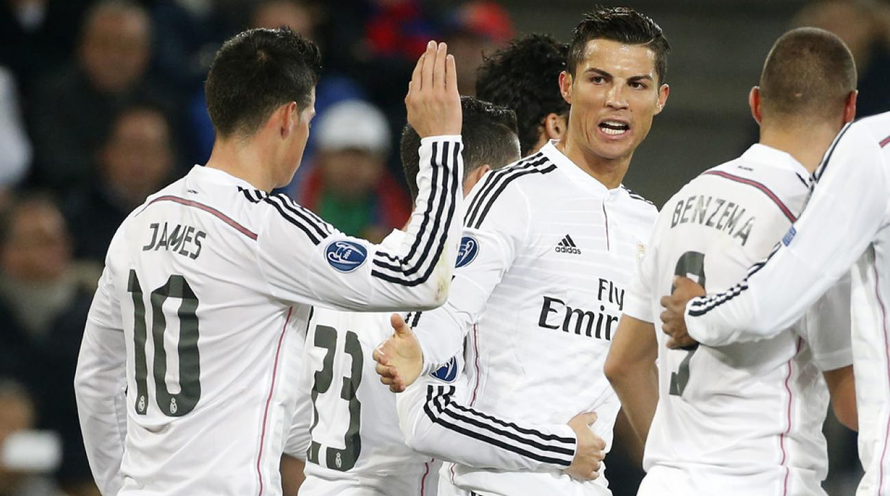 Cristiano Ronaldo (center) and the rest of Real Madrid's star-studded roster offers tactical flexibility to manager Carlo Ancelotti.