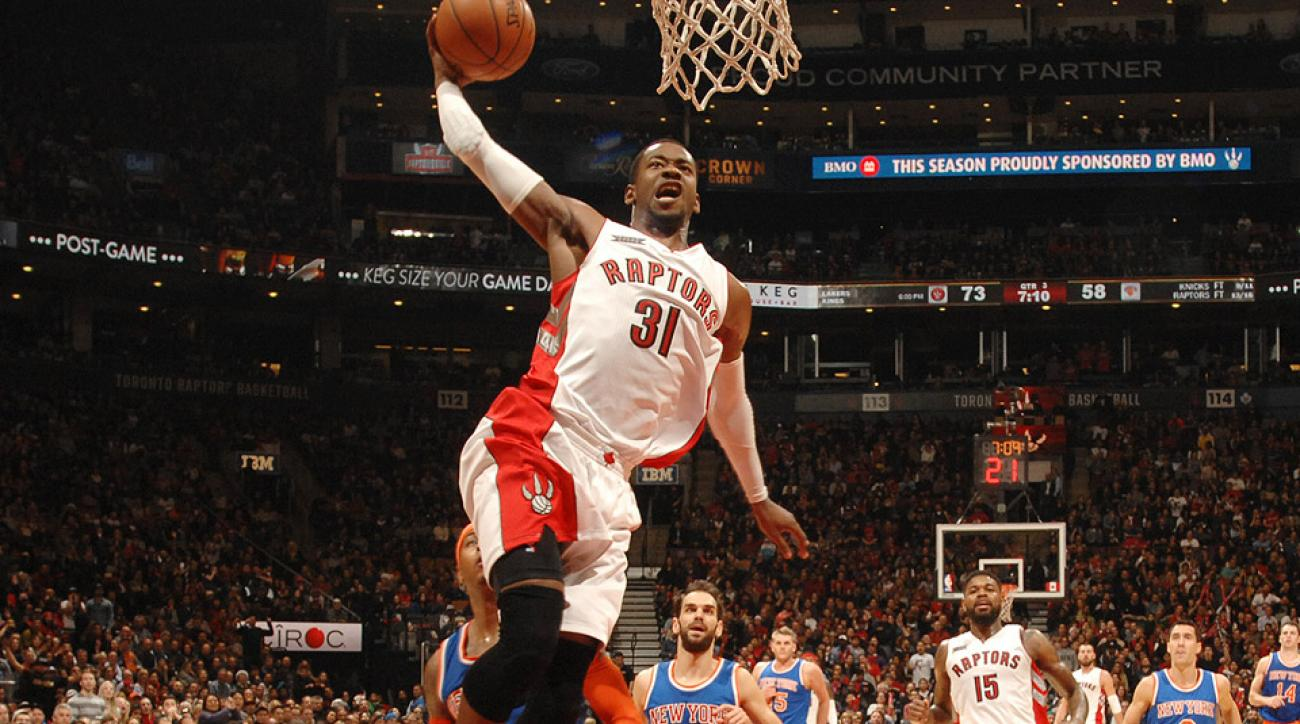 Toronto Raptors forward Terrence Ross threw down a massive dunk against the Knicks on Sunday.