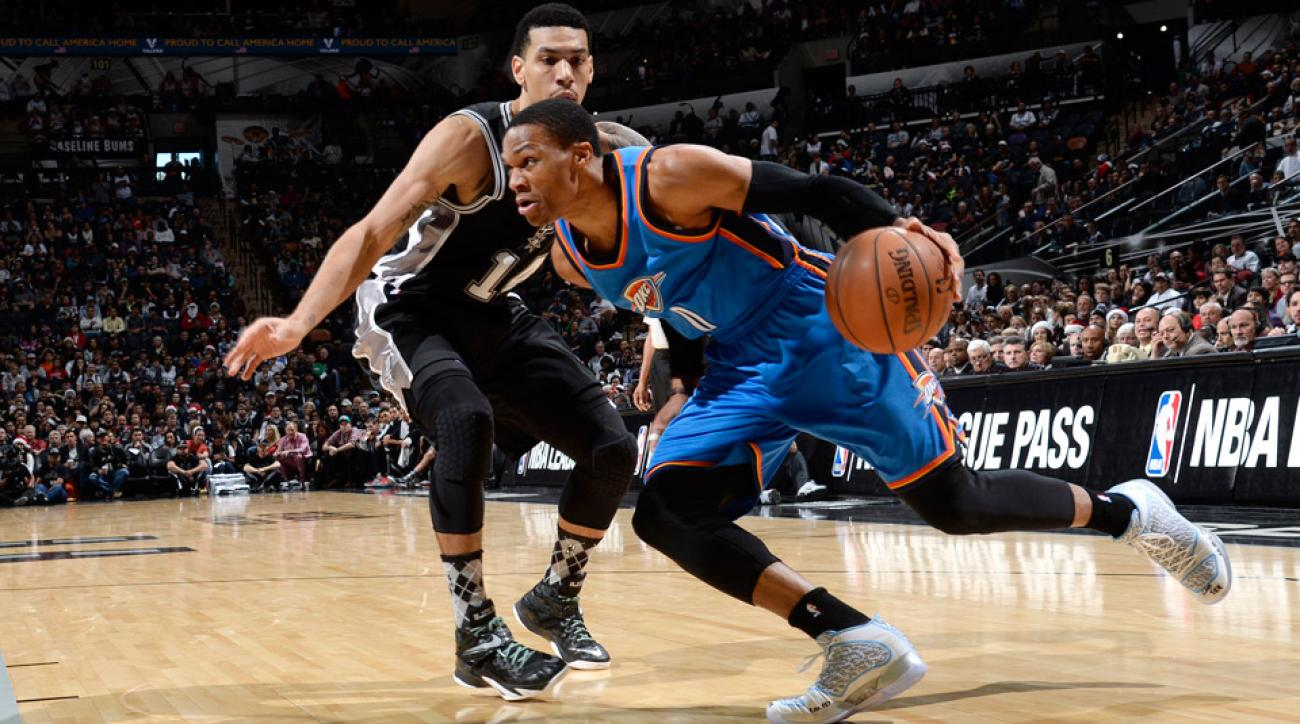 Russell Westbrook scored 34 points in the Thunder's Christmas Day win over the Spurs.
