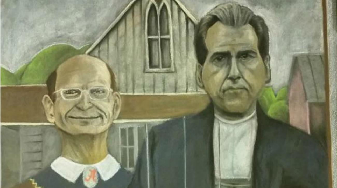 Nick Saban, Paul Finbaum appear in American Gothic parody