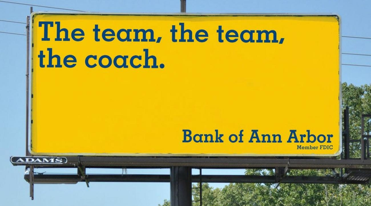 Bank of Ann Arbor welcomes Jim Harbaugh with billboards