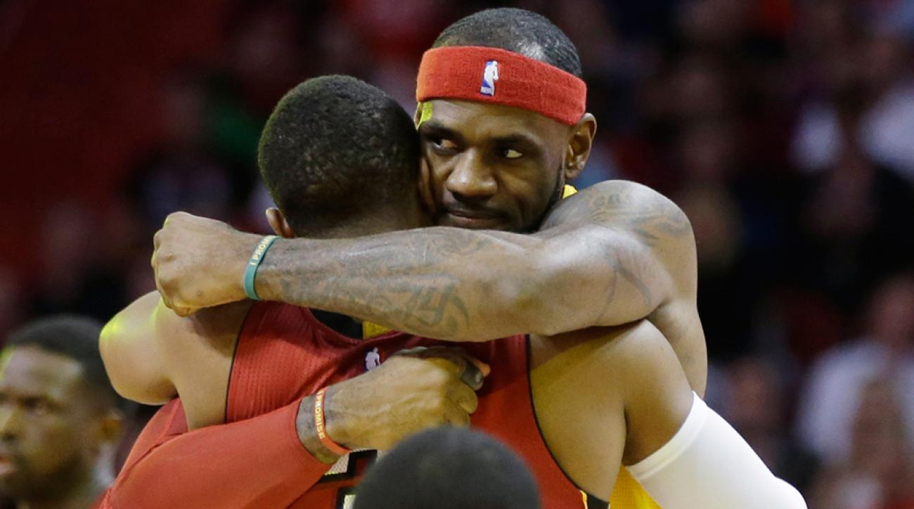 lebron james hugging dwyane wade
