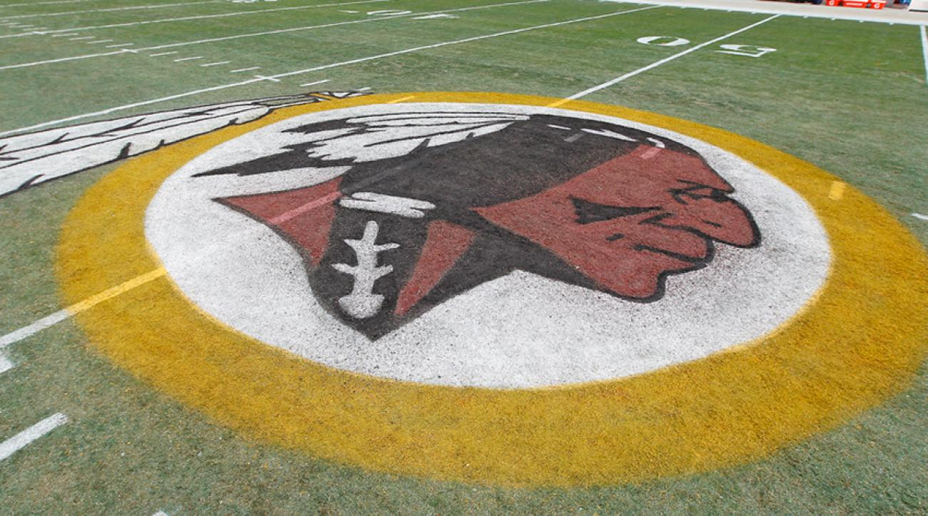 Redskins logo on field