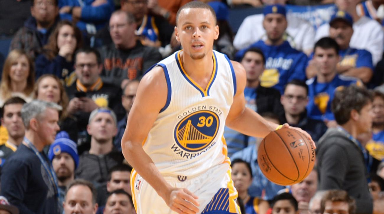 Warriors point guard Steph Curry threw down a fastbreak dunk over Kyle Lowry.