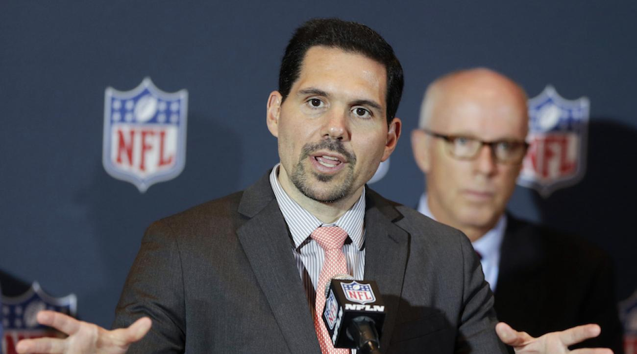 NFL vice president of officiating Dean Blandino speaks during a news conference in Orlando, Fla., March 24, 2014.