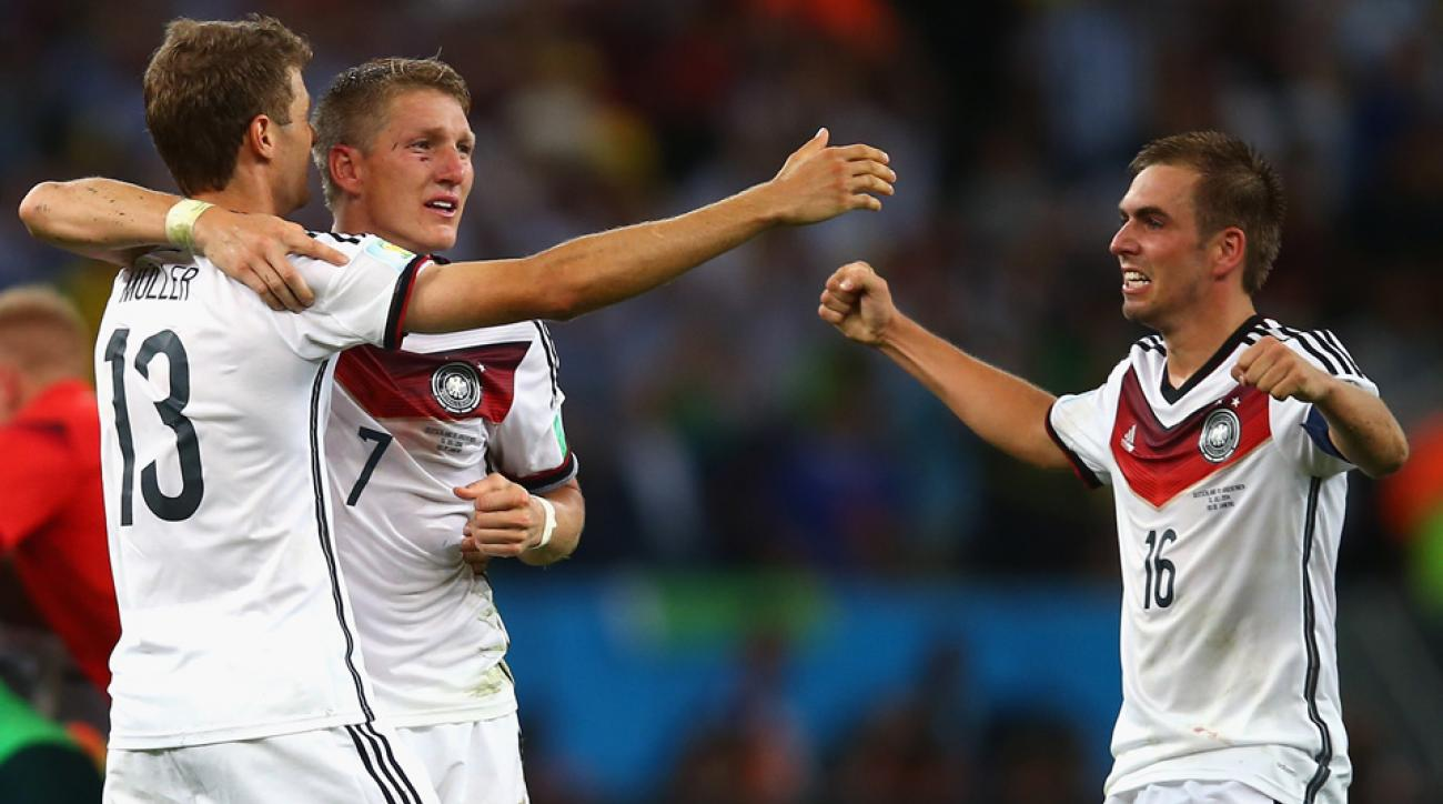 From left, Bayern Munich's Thomas Mueller, Bastian Schweinsteiger and Philipp Lahm played a large role in the Bundesliga club being heavily compensated for releasing players for the World Cup.