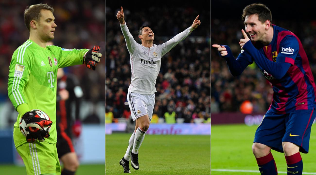 From left, Manuel Neuer, Cristiano Ronaldo and Lionel Messi are finalists for FIFA's Ballon d'Or, given to the world's player of the year.