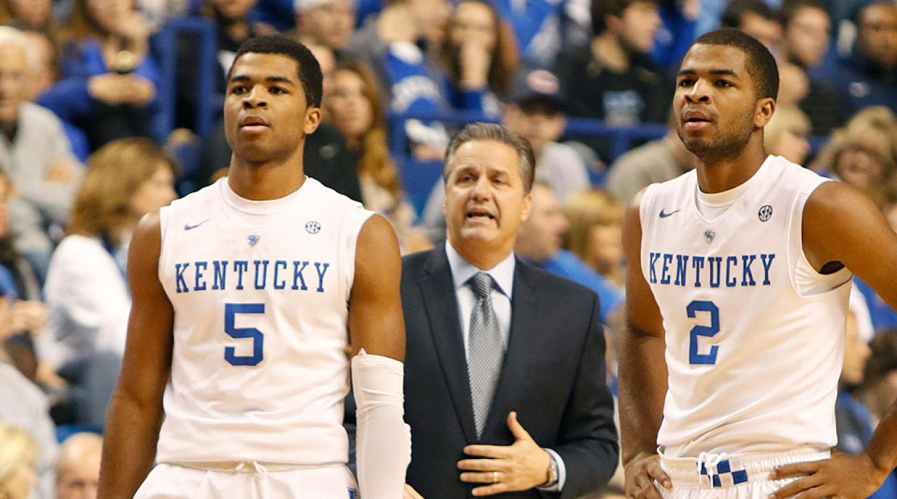 Twin brothers Andrew (left) and Aaron Harrison have John Calipari in contention for another No. 1 seed.