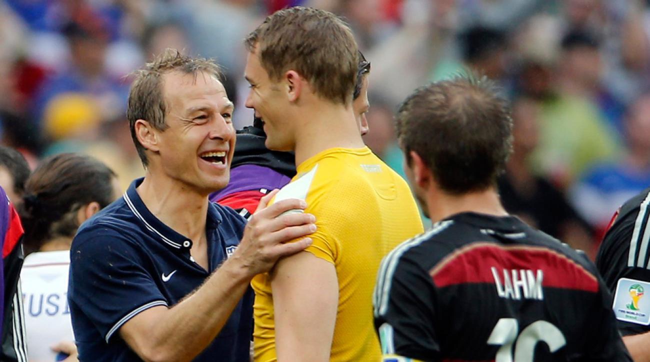 U.S. national team manager Jurgen Klinsmann greets Germany goalkeeper Manuel Neuer after their Group G finale at the 2014 World Cup.
