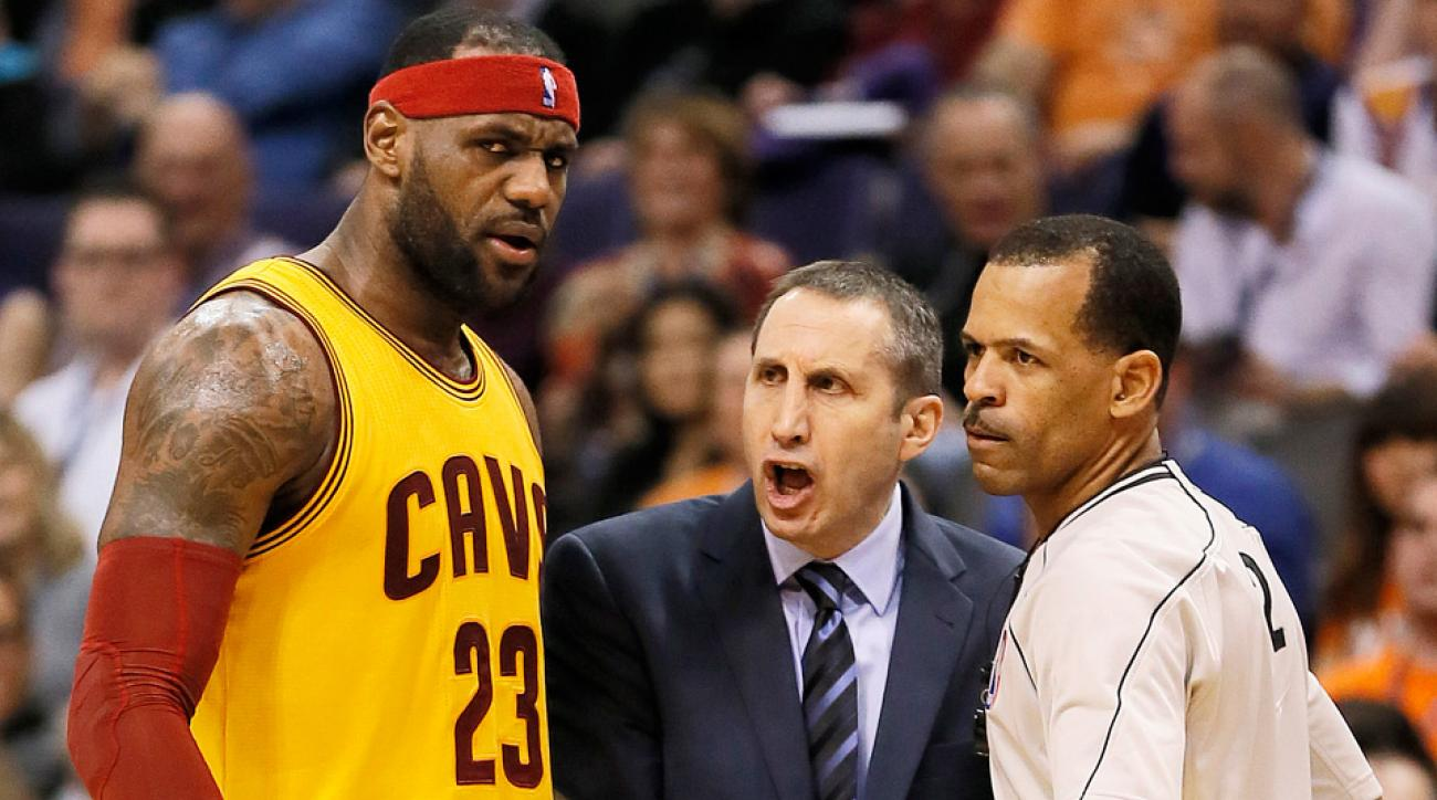 cavaliers' lebron james pushes coach david blatt near sideline, Esstisch ideennn