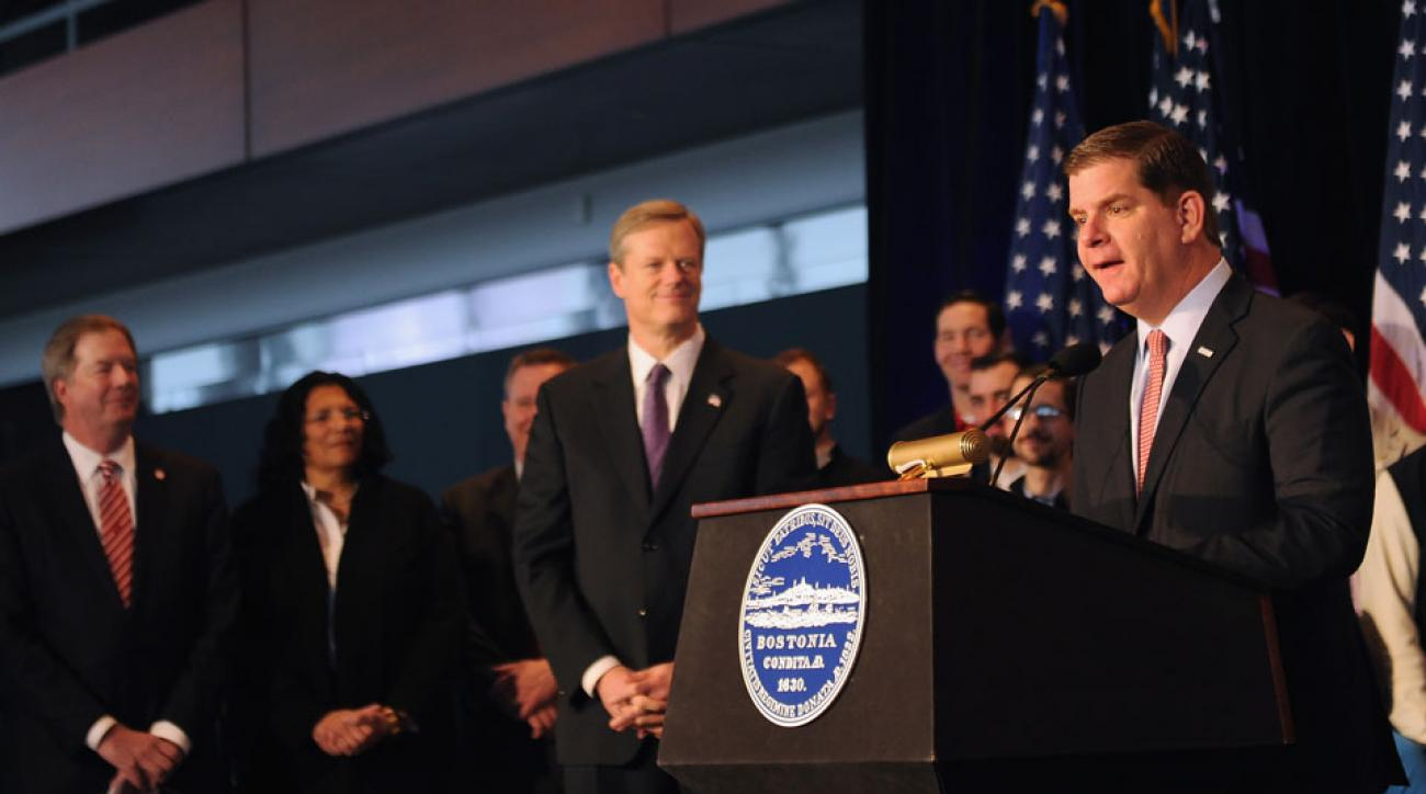 Boston mayor Martin J. Walsh at a press conference announcing Boston's 2024 Olympics bid