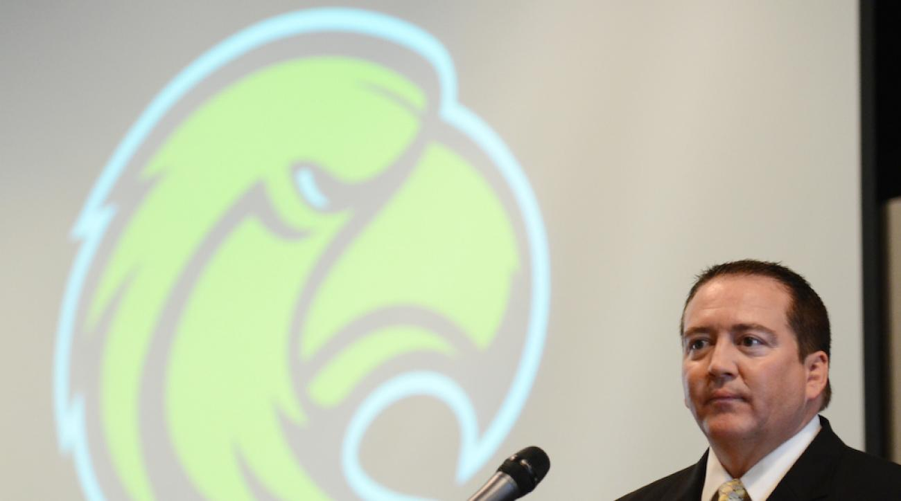Donnie Tyndall speaks during his April 2012 introduction as Southern Miss' men's basketball coach.