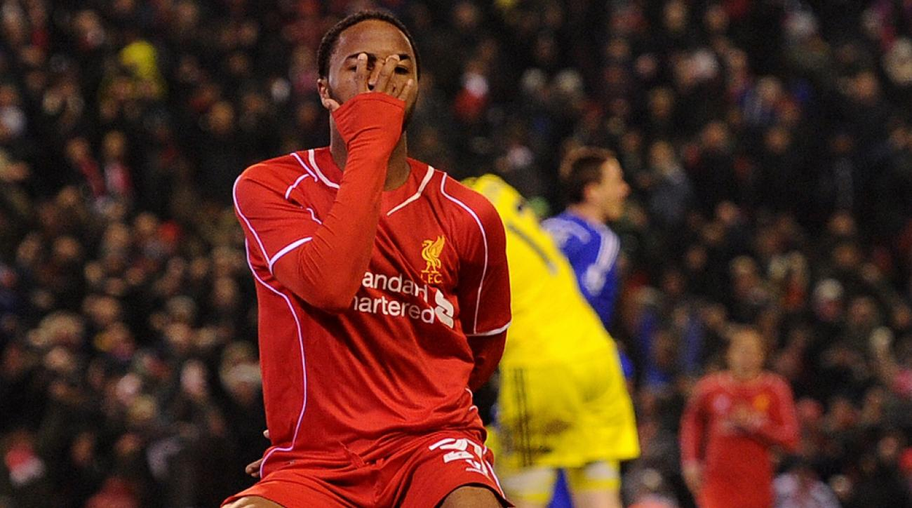 Liverpool's Raheem Sterling celebrates his goal vs. Chelsea in the League Cup semifinals.