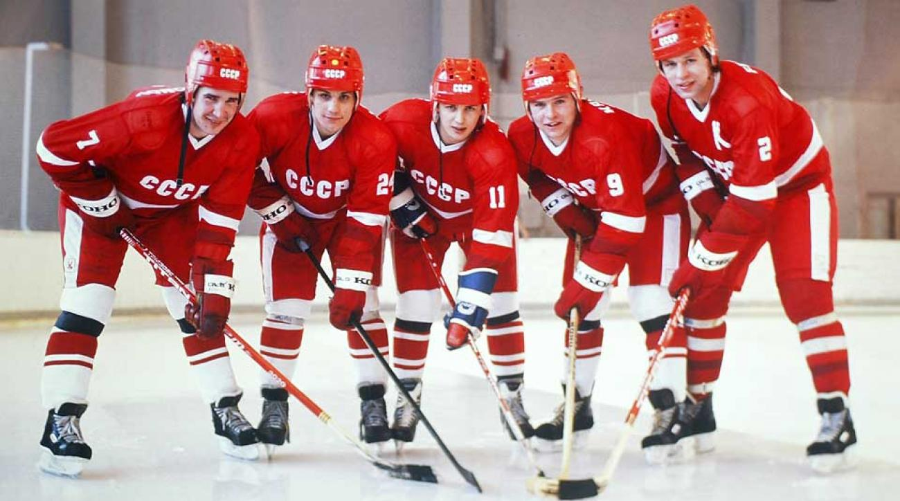 A new movie tells the story of the players who were the heart of Soviet hockey for a decade: (from left) Alexei Kasatanov, Sergei Makarov, Igor Larionov, Vladimar Krutov and Slava Fetisov