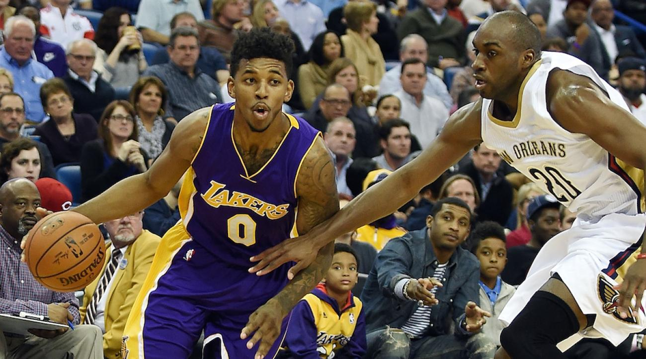 Los Angeles Lakers forward Nick Young injured his ankle in practice on Monday.