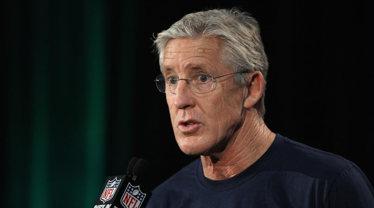 Seattle Seahawks coach Pete Carroll spoke with the media at a Super Bowl XLIX press conference on Monday.