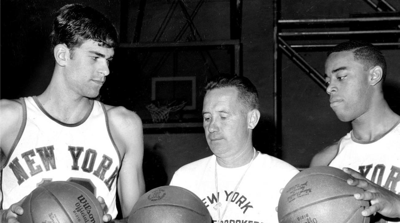 Phil Jackson with coach Dick McGuire and Walt Frazier