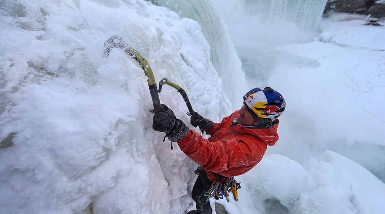 Will Gadd climbs Niagara Falls