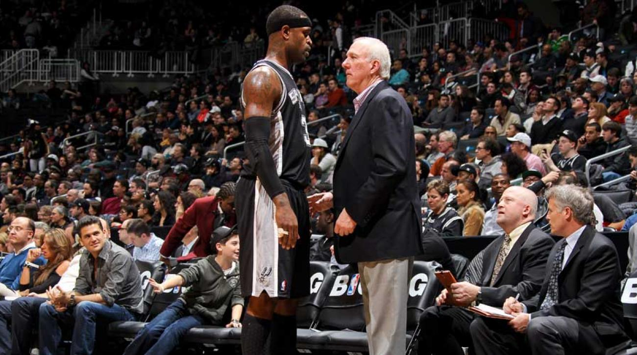 gregg popovich gets hit in the back of the head by a boris diaw half court shot
