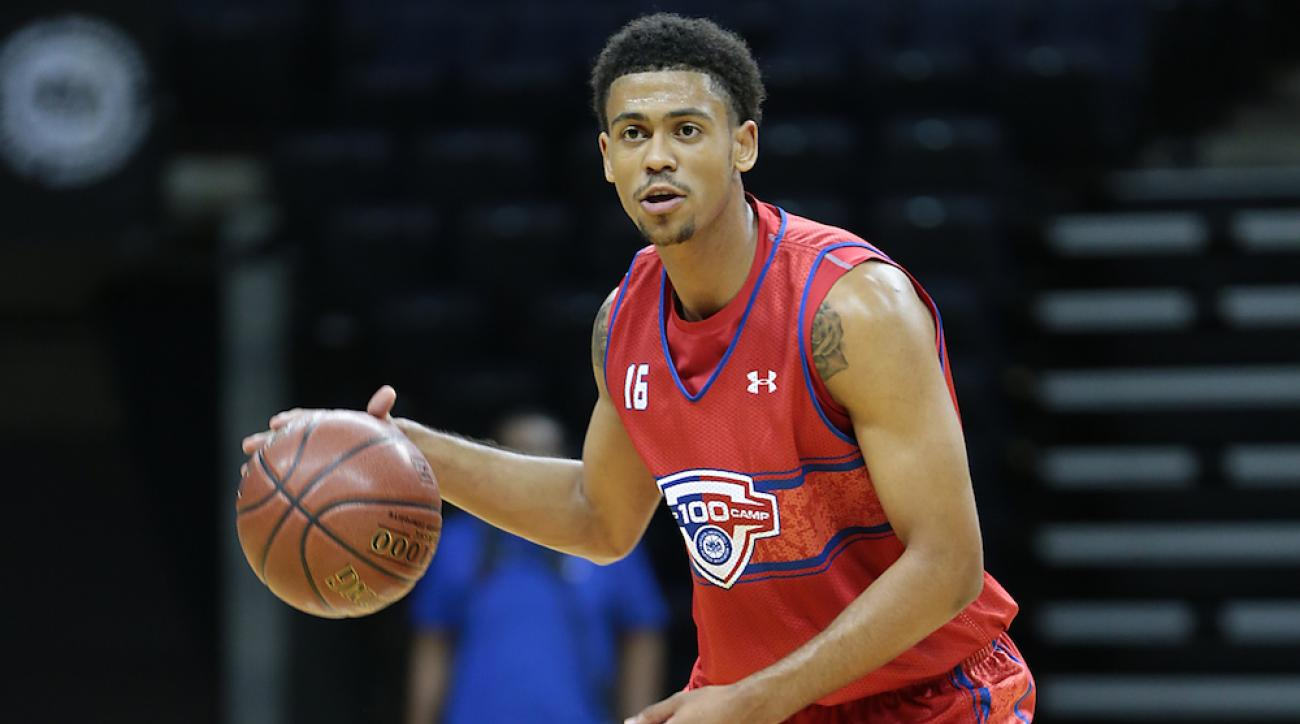 Tyler Dorsey brings the ball upcourt during the National Basketball Players Association Top 100 Camp on June 17, 2014, in Charlottesville, Va.