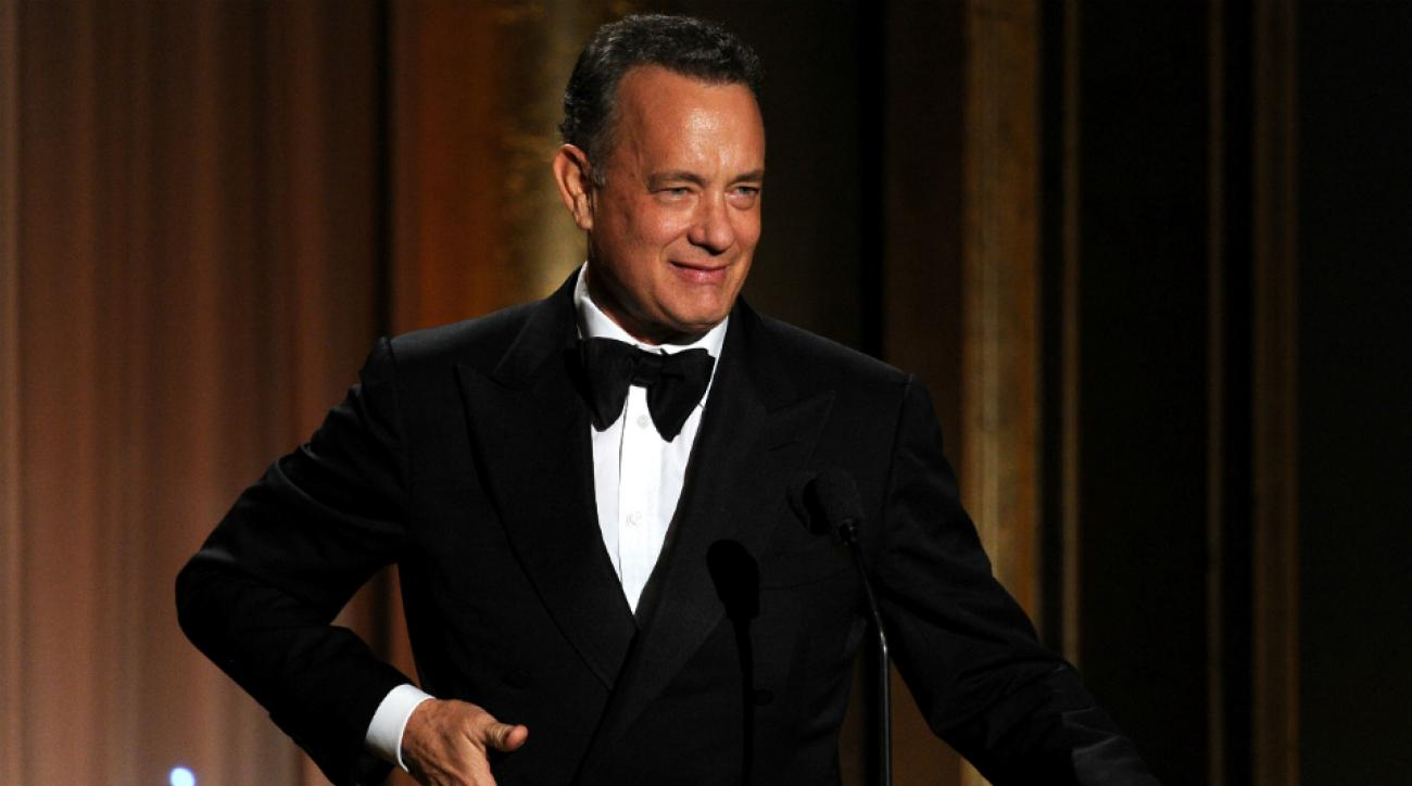 Tom Hanks brings Wilson the Volleyball to Rangers-Bruins