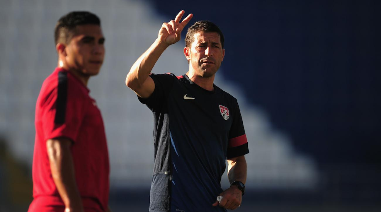 U.S. coach Tab Ramos gives instructions during a training session at Kasimpasa Recep Tayyip Erdogan Stadium on June 22, 2013, in Istanbul, Turkey.