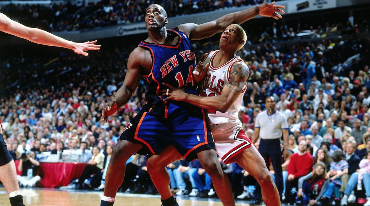 The New York Knicks' Anthony Mason boxes out the Chicago Bulls' Dennis Rodman during Game 1 of the 1996 Eastern Conference Semifinals.