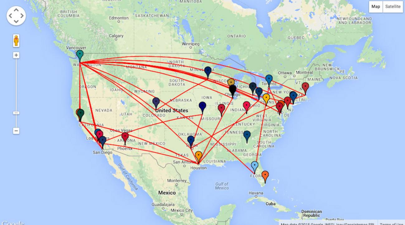 Seattle Mariners travel map for the 2015 MLB season.