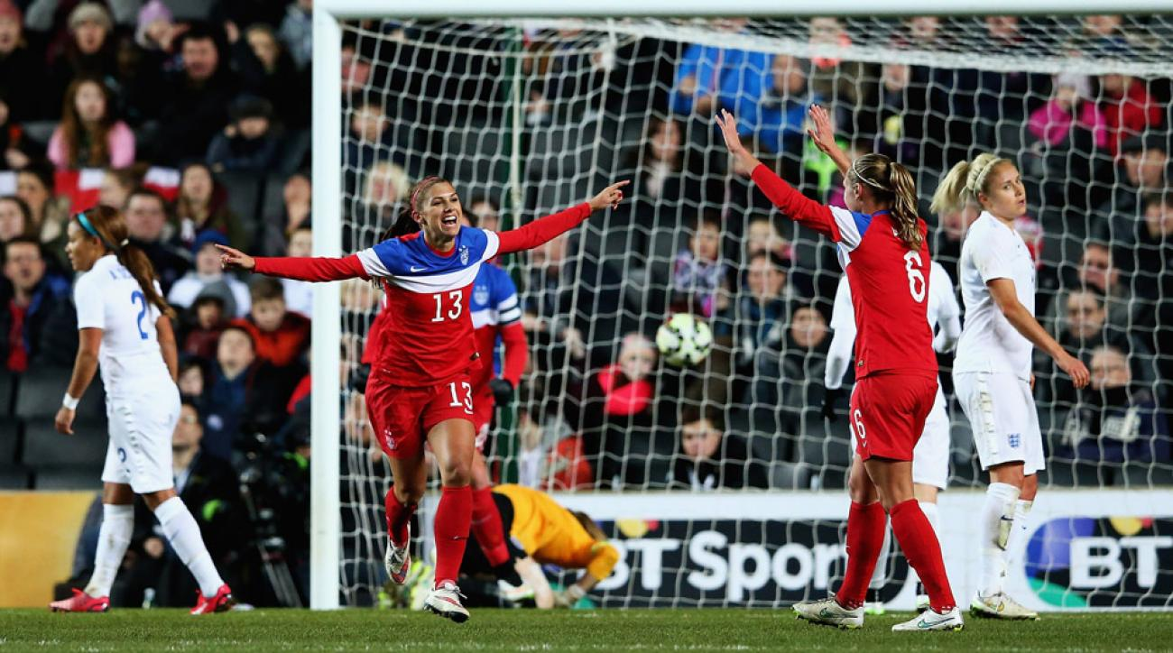Alex Morgan scored against England to give the United States a 1-0 lead.