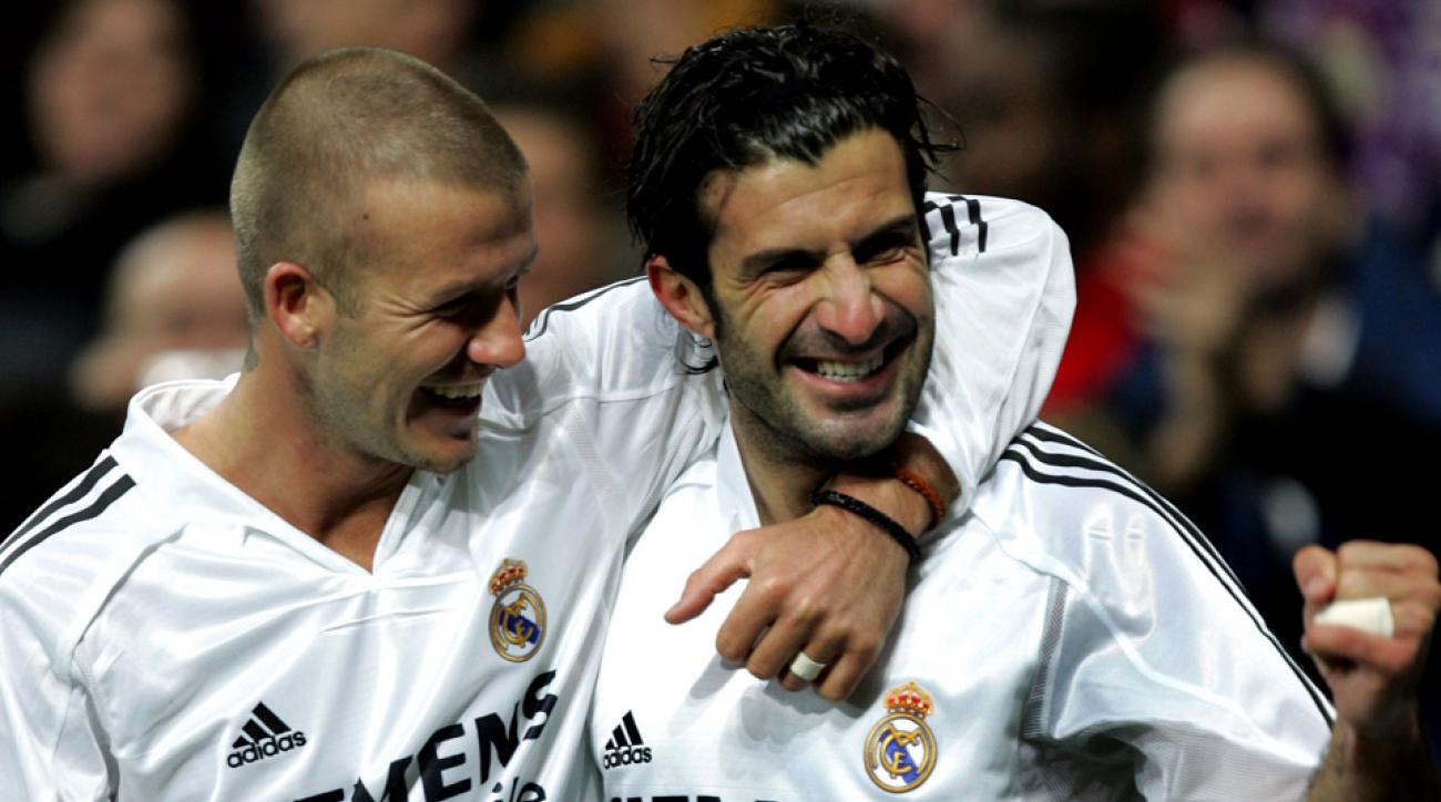 David Beckham, left, pictured above with Luis Figo while both played for Real Madrid in 2004.