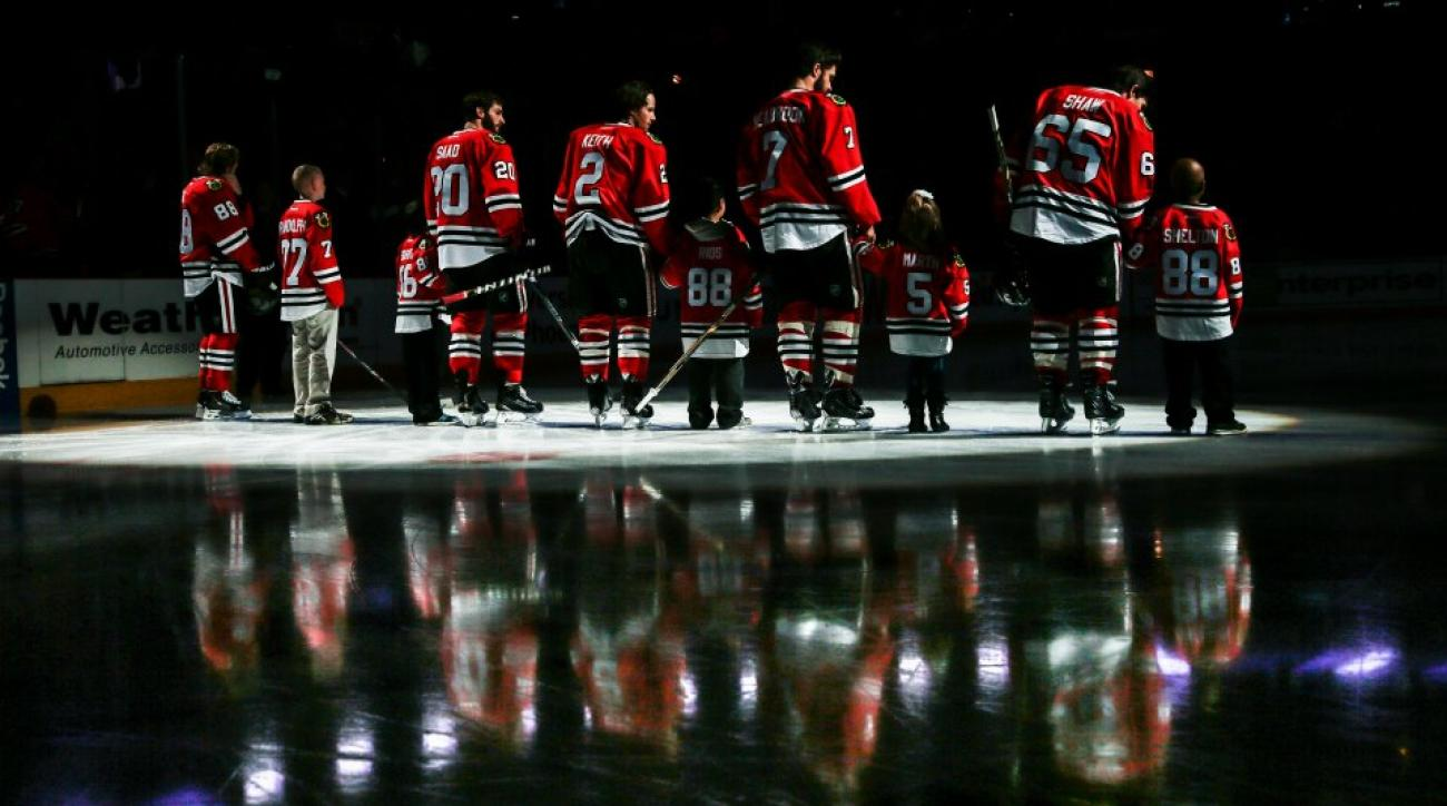 Blackhawks practice with 8-year-old Make-A-Wish recipient