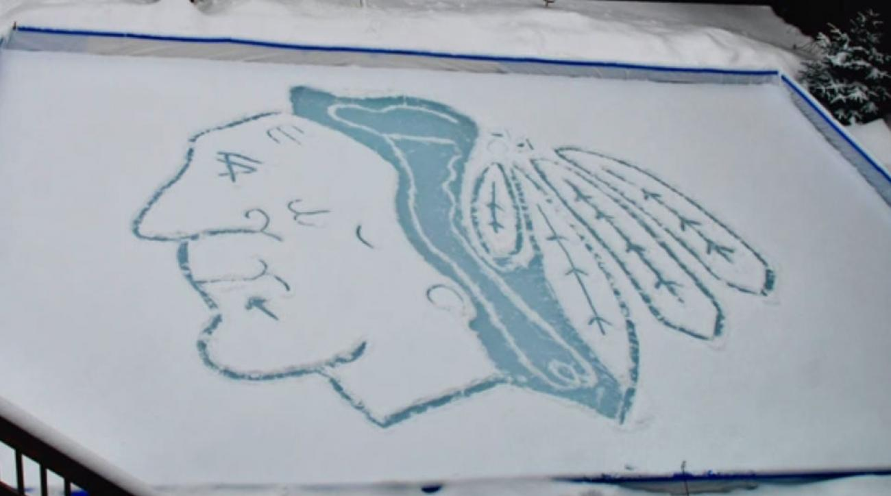 Chicago Blackhawks logo carved ice