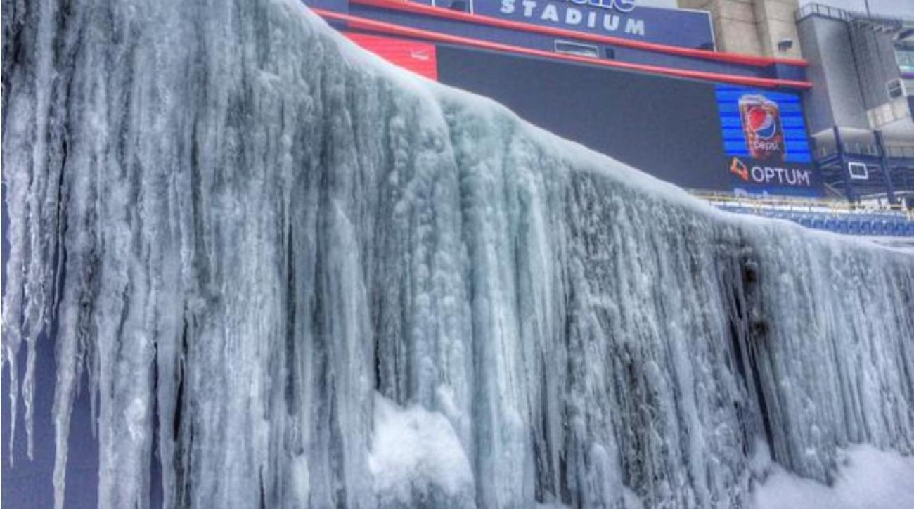 Gillette Stadium is covered in ice and snow