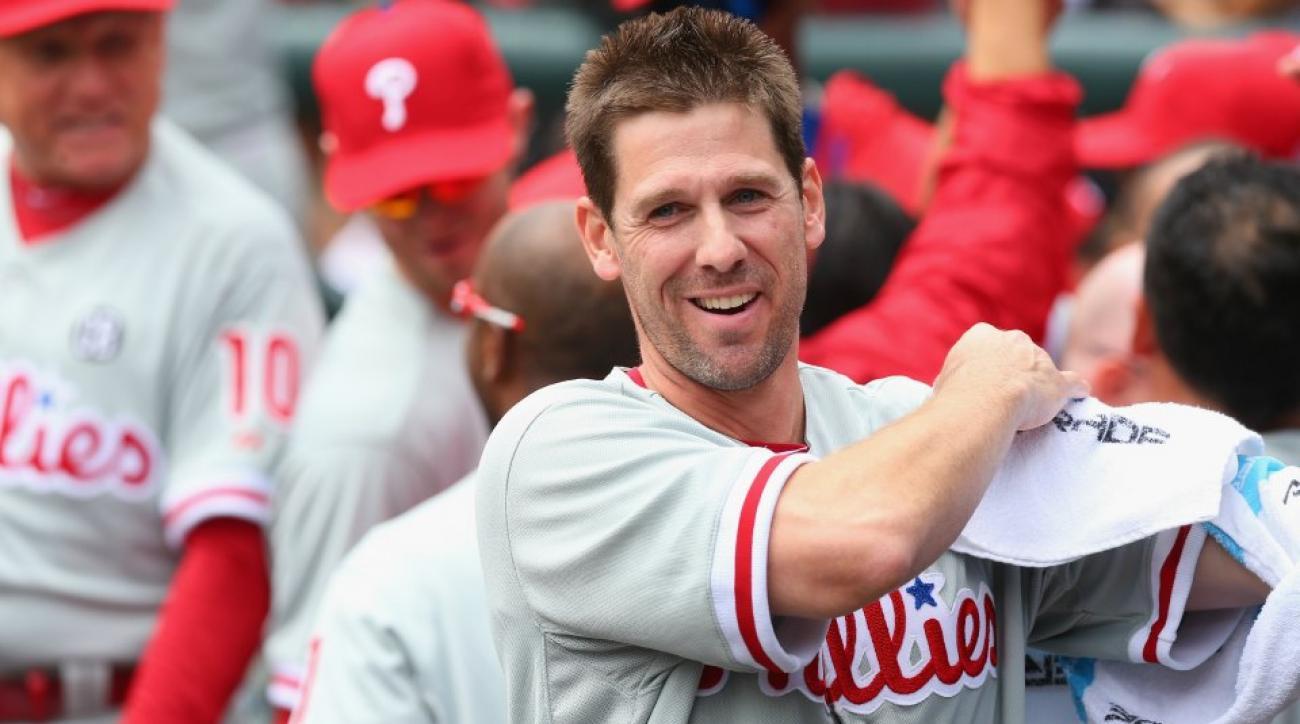Philadelphia Phillies Cliff Lee consults Magic 8 Ball