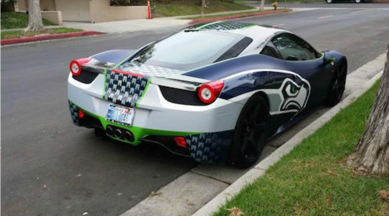 Seattle Seahawks fan gets Ferrari wrapped in team logo